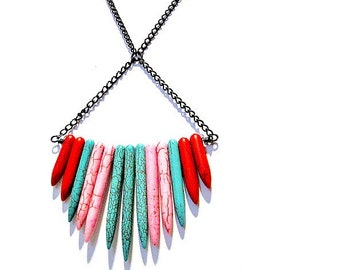 Shades of Turquoise Necklace Turquoise Jewelry Blue Pink Red Color Block Chain Gemstone Jewellery N-TBM