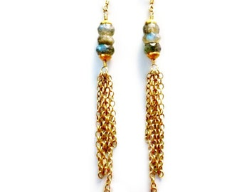 Gray Earrings - Labradorite Jewelry - Gold Chain Jewellery - Gemstone - Grey - Handcrafted - Dangle