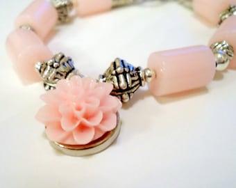 Pink Bracelet - Silver Jewelry - Flower Charm Jewellery - Shabby Chic - Pastel - Handmade - Fashion - Gift Ideas B-13