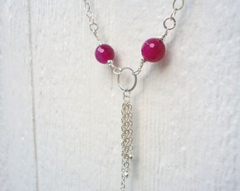 Hot Pink Necklace - Sterling Silver Tassel Jewellery - Fire Agate Jewelry - Gemstone - Fuschia - Chain - Simple - Everyday N-29