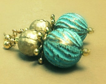 Turquoise Earrings - Bohemian Jewelry - Vintage Bead Jewellery - Yellow Gold - Dangle - Unique - Funky