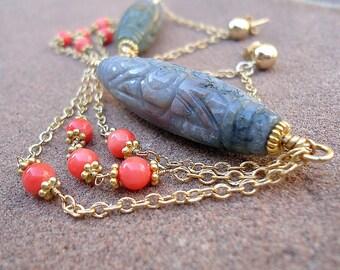 Jasper Earrings -  Gold Jewelry - Gray Coral - Gemstone Jewellery - Chandelier - Dangle