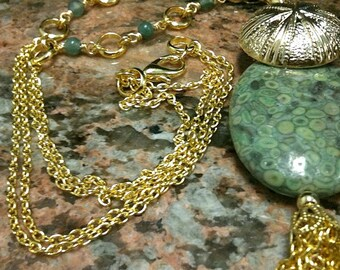 Green Jasper Necklace - Tassel Jewelry - Yellow Gold Jewellery - Gemstone - Beads - Chain - Button Pendant N-12