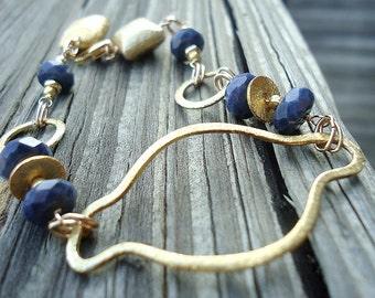 Sapphire Bracelet - Navy Blue Bracelet - September Birthstone - Blue Sapphire Jewelry - Gold Jewellery