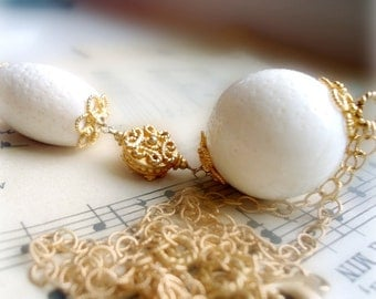 White Coral Necklace - Gold Tassel Jewelry - Gemstone Jewellery - Chain - Pendant - Drop N-2