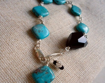 Turquoise Bracelet - Black Onyx Nugget Gemstone Jewellery - Sterling Silver - Unique Exotic Dangle Mod Unusual Diagonal Wire Wrapped B-38