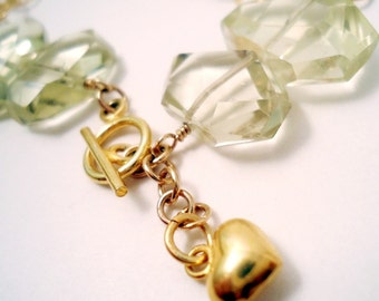 Yellow Bracelet - Lemon Quartz Gemstone Jewelry - Nugget Jewellery - Gold Chain - Heart Charm B-43