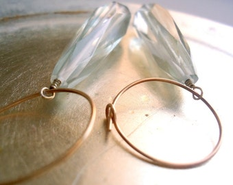 Clear Dichro Glass Earrings - Glass Jewelry - Gold Jewelry - Dangle Jewellery - Gold Veins - Hoops Unique Prom Wedding Teardrop ER-11