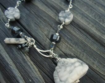 Gray Hematite Bracelet - Grey Jewelry - Buddha Charm - Pendant - Labradorite Jasper Gemstone Jewellery - Flower - Floral - Sterling Silver