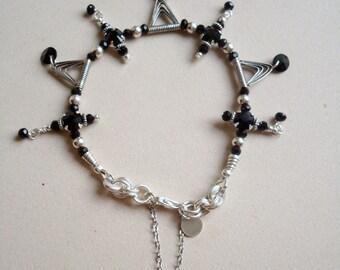 Black Bracelet Funky Bracelet Sterling Silver Jewelry Onyx Gemstone Jewellery 925 Safety Chain Unique Triangle Geometric B-48