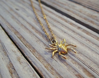Spider Necklace Goth Steampunk Halloween Jewelry Gold Jewellery Vermeil Chain Pendant Charm Everyday Minimal Layer Insect N-TBM