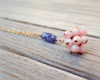 Pink and Purple Necklace - Tanzanite and Coral Jewellery - Yellow Gold Jewelry - Natural Gemstone - Unique - Dainty - Chain N-219