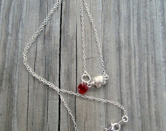 Elephant Necklace - Sterling Silver Jewelry - University of Alabama Jewellery - Red Bohemian Glass - Roll Tide - Mother Daughter - Chain