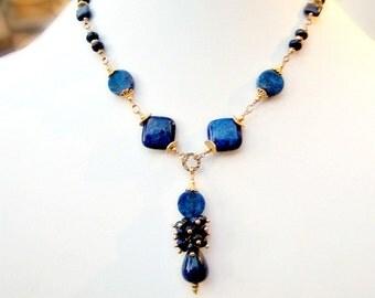 Navy Blue Necklace - Lapis Lazuli Jewellery - Gold Jewelry - Natural Gemstone - Pendant - Drop Beaded Unique Graduation Denim N-85