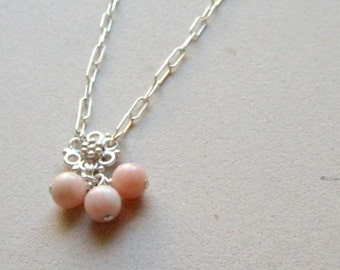 Pink Opal Necklace - October Birthstone - Sterling Silver Jewelry - Peruvian Gemstone Jewellery - Pastel - Chain - Pendant