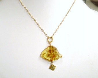 Yellow Necklace - Amber Gemstone - Gold Jewelry - November Birthstone Jewellery - Slice - Slab - Pendant - Drop - Quatrefoil  N-108