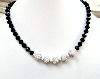 Black Necklace - Silver Jewelry - Pave Crystal Swarovski Jewellery - Elegant - Unique - Glam - Glittery - Prom - Black Tie N-114