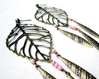 Leaf Earrings - Brass - Coral - Long Earrings - Boho - Brass Jewelry