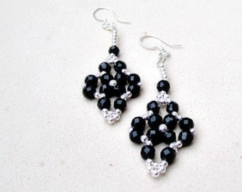 Black Onyx Beaded Earrings Sterling Silver Jewelry Gemstone Jewellery Handmade Ornamental Unique ER-58