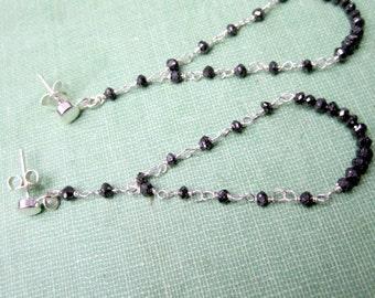 Black Earrings - Diamond Jewelry - Chandelier - Sterling Silver Jewellery - 10 Year Wedding Anniversary Gifts ER-51