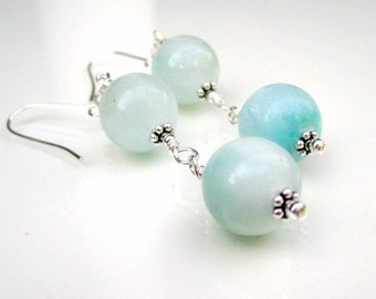 Larimar Earrings - Blue Gemstone Jewellery - Sterling Silver Jewelry - Handcrafted - Dangle - Minimal ER-69