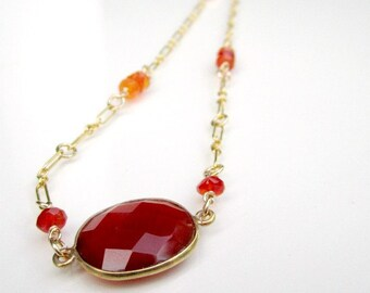 Carnelian Necklace - Orange Gemstone Jewelry - Texas Longhorn Jewellery - Yellow Gold - Beaded - Chain - Unique - Handcrafted N-118