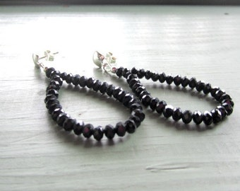 Black Crystal Earrings - Sterling Silver Jewelry - 925 Jewellery - Hoops Unique Handcrafted Fashion Vogue ER-32