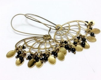 Brass Earrings - Black Onyx - Spinel - Gemstone Jewelry