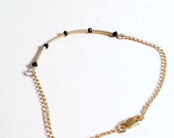 Black Skinny Bracelet Bead Bar Thin Chain Spinel Gold Vermeil Jewelry Layering Stackable Jewellery TBM