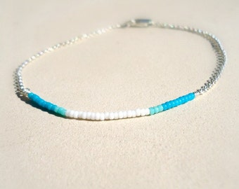 Bead Bar Bracelet Blue and White Skinny Jewellery Sterling Silver Jewelry Thin Chain Stack Layer Everyday Seed Beads B-TBM