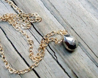 Pyrite Necklace - Pendant - Yellow Gold Jewelry - Gemstone Jewellery - Fools Gold Briolette Chain Dainty Stack Layer Mixed Metal N-165
