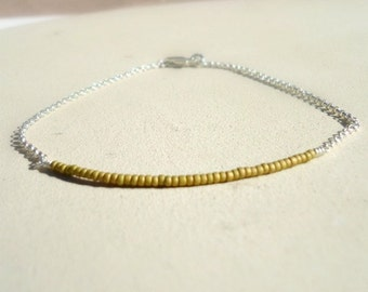 Tan Beaded Bar Bracelet Skinny Bead Bar Jewellery Sterling Silver Jewelry Thin Stack Layer Chain