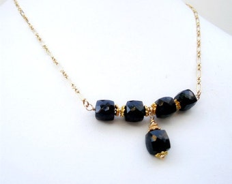 Black Necklace - Spinel Bead Bar Jewelry - Bridesmaid Jewellery - Gemstone - Gold - Wedding - Luxe N-179