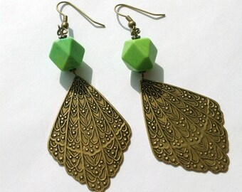 Lime Green Earrings - Brass Jewelry - Turquoise Gemstone Jewellery - Dangle - Summer Fashion - Nugget ER-116