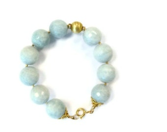 Blue Bracelet - Lace Agate Gemstone Jewelry - 24K Gold Vermeil Jewellery - Chunky - Pastel - Unique - Handcrafted - Glam - Lux B-192
