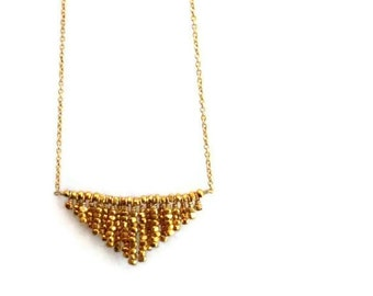 Gold Triangle Necklace - Modern Geometric Jewelry - Chevron Pendant - Simple - Everyday Gold Jewellery - Gold - Point - Fringe N-187