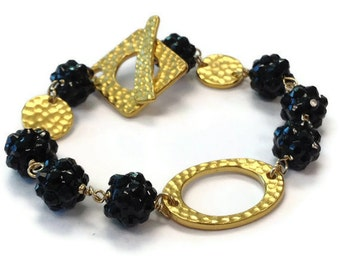 Black Bracelet - Yellow Gold Rhodium Jewelry - Statement Jewellery - Blackberry Beaded - Unique Handcrafted B-202