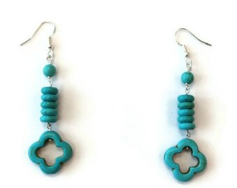 Turquoise Earrings - Quatrefoil Gemstone Jewelry - Sterling Silver 925 Jewellery - Dangle - Pierced - Clover ER-109