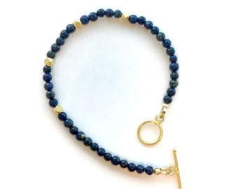Lapis Bracelet - Navy Blue Lapis Lazuli Jewellery - Gemstone Jewelry - Yellow Gold - Denim - Layer - Stack B-TBM