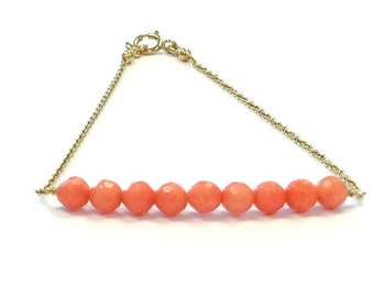 Coral Bead Bar Bracelet - Gold Filled Jewelry - Gemstone Jewellery - Simple - Everyday