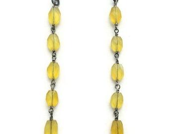 Yellow Earrings - Oxidized Sterling Silver Jewelry - Chalcedony Gemstone Jewellery