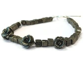 Pyrite Bracelet - Flower Jewelry - Sterling Silver Jewellery = Gemstone - Fools Gold - Mixed Metal - Dainty - Fashion B-195