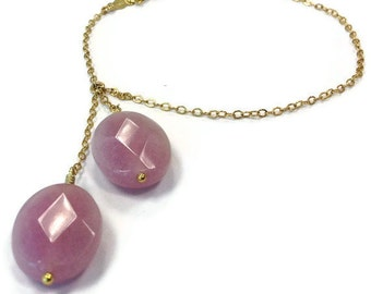 Simple Gold Bracelet Lilac Lavender Jade Jewelry Gemstone Dangle Jewellery 14K Yellow Gold Filled Chain B-TBM