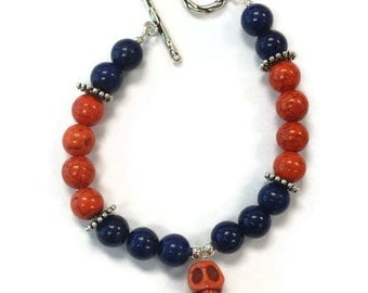 Turquoise Bracelet - Navy Blue and Orange - Day of the Dead Bracelet - Sugar Skull - Sterling Silver Jewelry - Mexican Holiday B-212