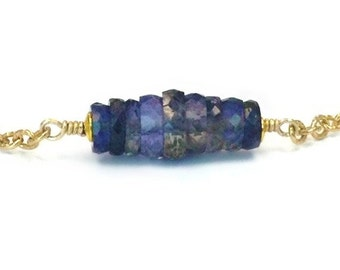 Iolite Necklace - Iolite Bead Bar Necklace - Gold Jewellery - Gemstone Jewelry - Purple - Chain - Luxe - Iridescent