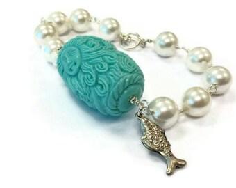 Pearl Bracelet - Mermaid Jewellery - Turquoise - Sterling Silver Jewelry - Carved Coral Gemstone - Fish Charm - 925 - Ocean - Sea B-TBM