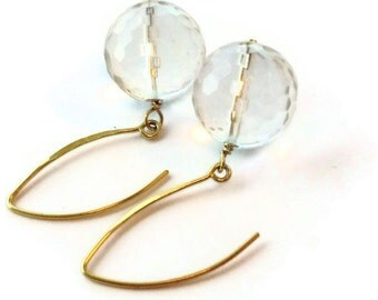 Clear Crystal Quartz Earrings - Yellow Gold Jewellery - Gemstone Jewelry - Dangle - Bride Bridesmaid Wedding  ER-138