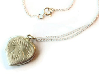 Heart Locket Necklace - Vintage Heart Pendant - Mother Daughter Jewellery - Sterling Silver - Photo - Chain - Two Sided N-238 239