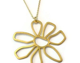 Gold Necklace Flower Pendant Charm Jewellery Chain Jewelry Mod Funky Everyday Graduation Fashion