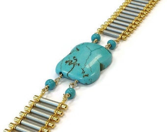 Turquoise Bracelet Gold & Silver Jewelry Mixed Metal Jewellery Chain Everyday Minimal Graduation Gifts Fashion Gemstone Trendy Band B-243